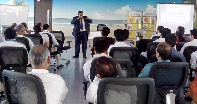 Dr. Jawahar Shah addressing the staff members of Greaves Cotton